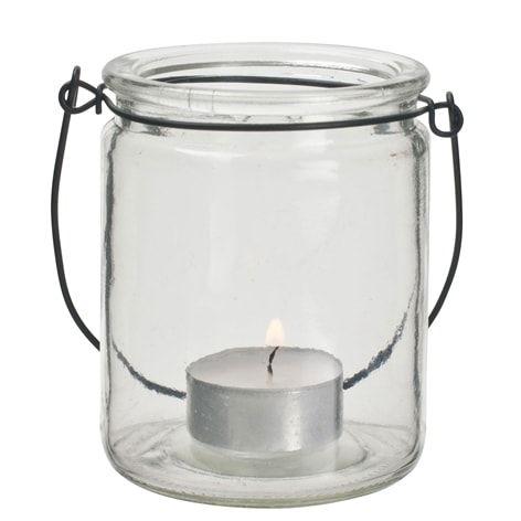 Ljuslykta hängande. 10 cm. Glaslykta för värmeljus med hängare i metall.  Viktigt! Tänk på att aldrig lämna levande ljus obevakade.
