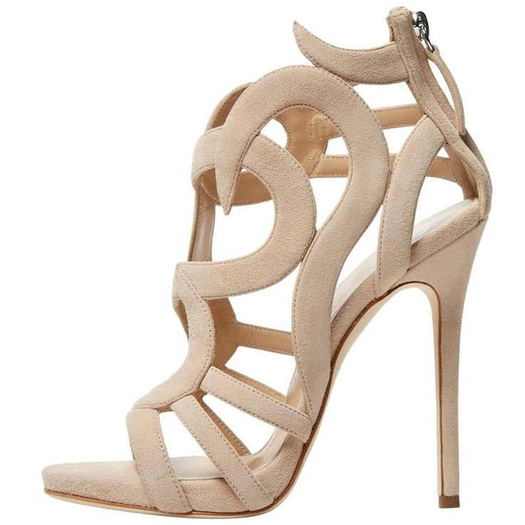 Giuseppe Zanotti New Sold Out Nude Tan Cut Out Gladiator Heels Sandals in Box | From a collection of rare vintage shoes at https://www.1stdibs.com/fashion/clothing/shoes/