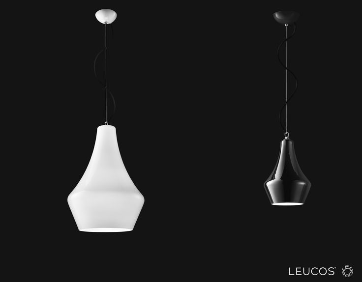 Alma by Riccardo Giovanetti. Hanging lamp with layered blown glass diffuser, available in polished white or polished black.  #Leucos #Alma #Leucoslovablelamps #blownglass #white #black #suspensionlamp #lamp