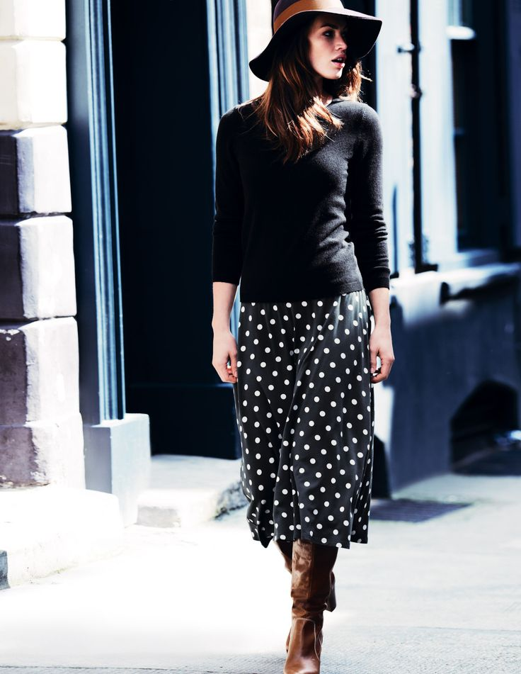 BodenMidi Skirts, Polka Dot Skirts, Jersey Skirts, Tall Boots, Polka Dots Skirts, Women Skirts, Fall Winte, Swishy Jersey, Brown Boots