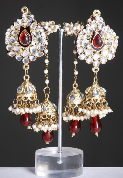 Indian Kashmiri Jhumki style kundan earrings studded with white and deep red color stones and pearls
