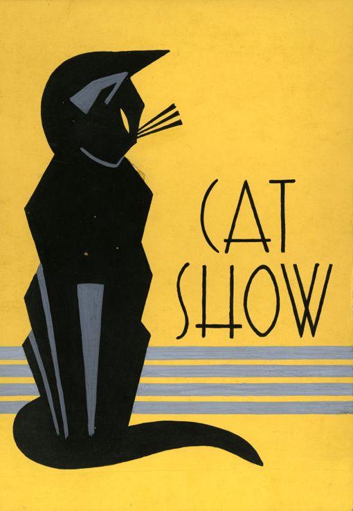 Poster anonymous, 1930s, Cat Show,  gouache.  http://www.ebay.com/itm/231168871986