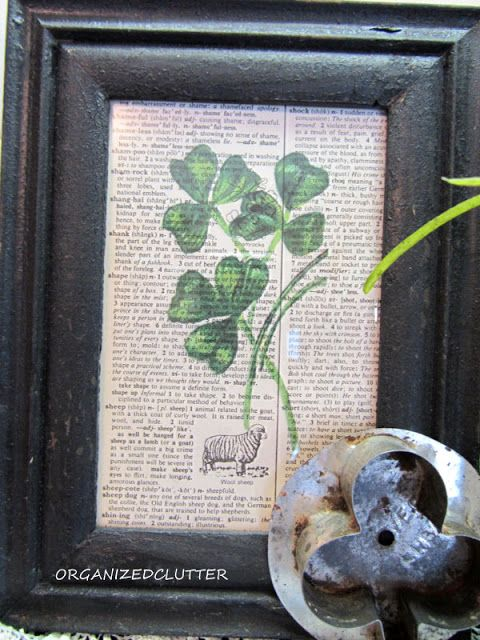 St Patrick's Day Shamrock Print on Dictionary Page www.organizedclutter.net