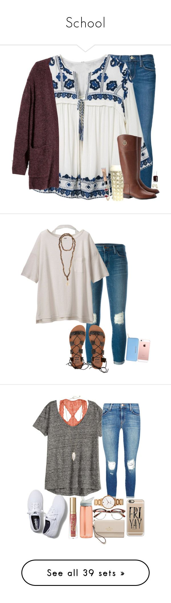 """""""School"""" by janiewooten ❤ liked on Polyvore featuring Frame, Kate Spade, Tory Burch, Kendra Scott, Essie, H&M, philosophy, J Brand, Uniqlo and Billabong"""