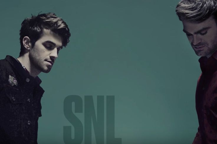 No longer the EDM one-hit wonders that brought us 'Selfie', the Chainsmokers are officially moving themselves into the musical mainstream. Last night they got their chance at visually stimulating a national audience on Saturday Night Live as the musical guests joining Louis C.K.'s hosting gig. There's a full band backing up 'Paris' and 'Break Up Every Night' and it was a good move to make sure they were showing a full presence on that stage, not just two dudes...