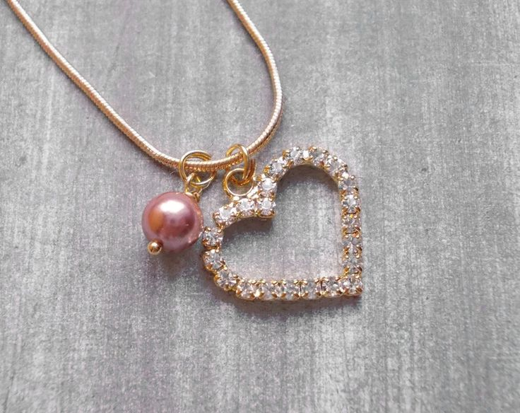 """Ketten mittellang - Kette rosegold """"Rhinestone Heart"""" rosé braun - ein Designerstück von kirschrot-schmuckdesign bei DaWanda"""
