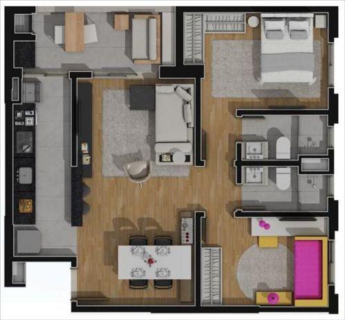 apartamento planta tipo 2 quartos 1 suite 69,32m2