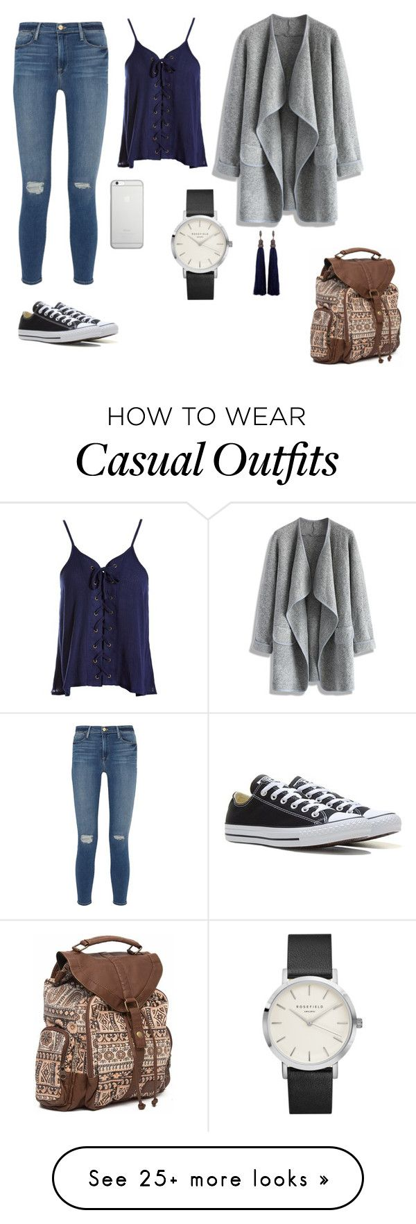 """Casual"" by luciaaguirremartinez on Polyvore featuring Frame Denim, Sans Souci, Chicwish, Native Union, Billabong, Converse and Lanvin"