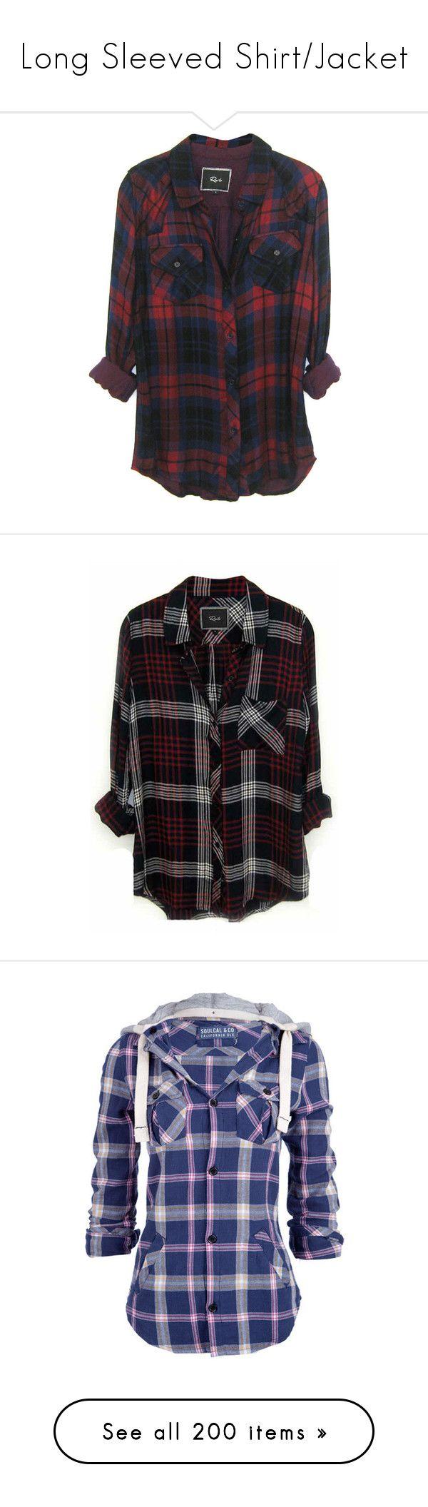 """Long Sleeved Shirt/Jacket"" by blaizeg ❤ liked on Polyvore featuring tops, shirts, flannels, jackets, plaid top, tencel shirt, tartan top, plaid shirts, tartan shirts and flannel top"