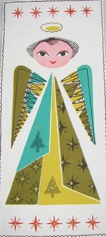 Vintage 1955 Mod Angel Christmas Card