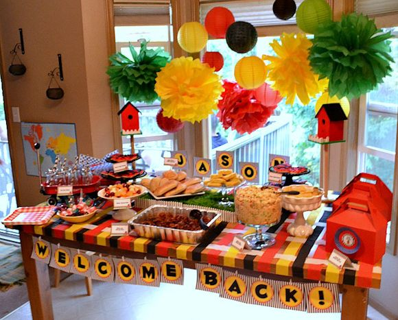 Soldier 39 s surprise welcome home party party ideas for Baby welcome party decoration ideas