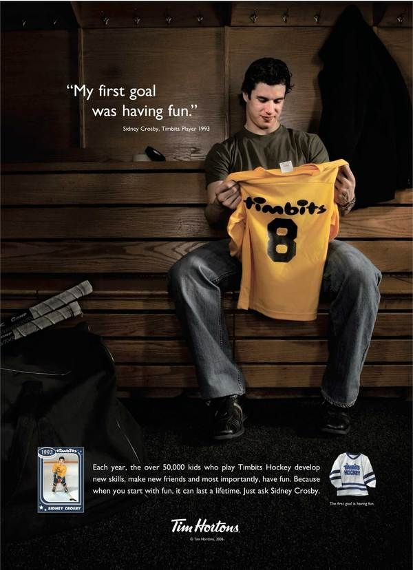 """""""My first goal was having fun."""" - Sidney Crosby, Timbits Player 1993"""