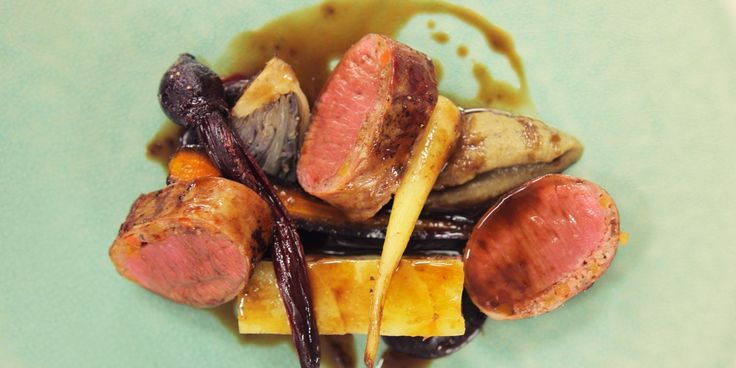 David Kelman's inventive dish pairs pan-roasted lamb loins with a lamb rump and potato terrine, aubergine purée and winter vegetables