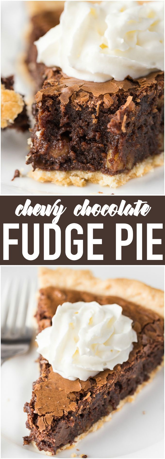 Chewy Chocolate Fudge Pie - The perfect Easter dessert that tastes just like a brownie!
