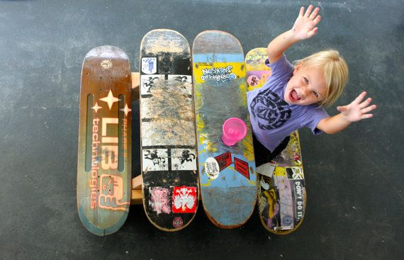 Old skateboards re-used as a picnic table for kids. Love this idea!
