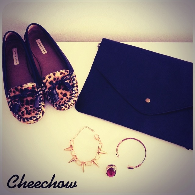 Leopard loafers,clutch bag,spike bracelet,arrow bracelet,ring