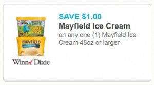 RARE new $1/1 Mayfield Ice Cream printable coupon (FREQUENT Publix/Winn-Dixie BOGO sales!) - http://www.couponaholic.net/2015/07/rare-new-11-mayfield-ice-cream-printable-coupon-frequent-publixwinn-dixie-bogo-sales/