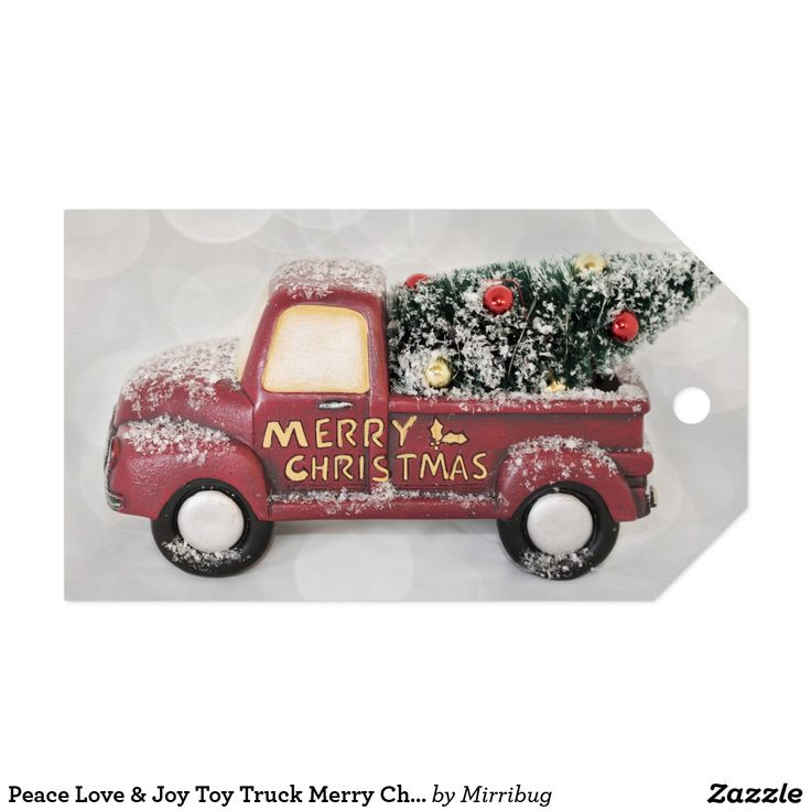 Peace Love & Joy Toy Truck Merry Christmas Gift Tags