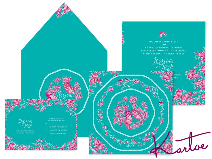 Kupu-Kupu - Asian Peranakan inspired wedding invitations.