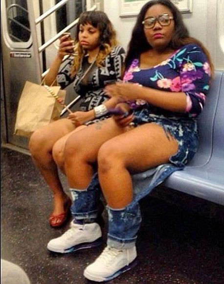 People Of The NYC Subway (via BuzzFeed) - um....your jeans are ripped. Just FYI.