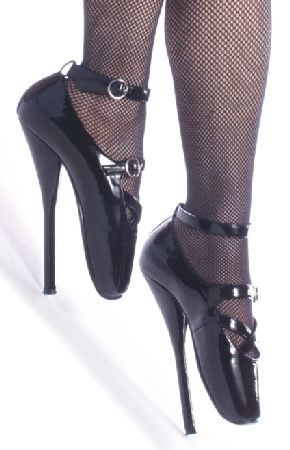 Devious Fetish Footwear Devious Ballet-30 Black Patent Ballet Heels Shoes Dramatic black patent shoes with ballet-inspired design, extra high stiletto heels and decorative criss-cross strap fastened with metallic buckle on top. A matching detachable ankle strap with metalli http://www.MightGet.com/january-2017-12/devious-fetish-footwear-devious-ballet-30-black-patent-ballet-heels-shoes.asp