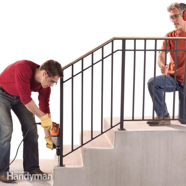 replace a wobbly old outdoor handrail with a rock solid one by using strong concrete anchors. we show you how to design and attach one to your steps.