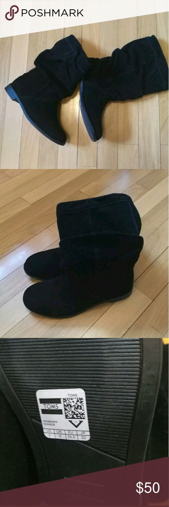 "New Womens Toms ""Serra"" Black Suede boots. New Womens Toms ""Serra"" Black Suede Perforated Slouch Boots Size 5 TOMS Shoes Ankle Boots & Booties"