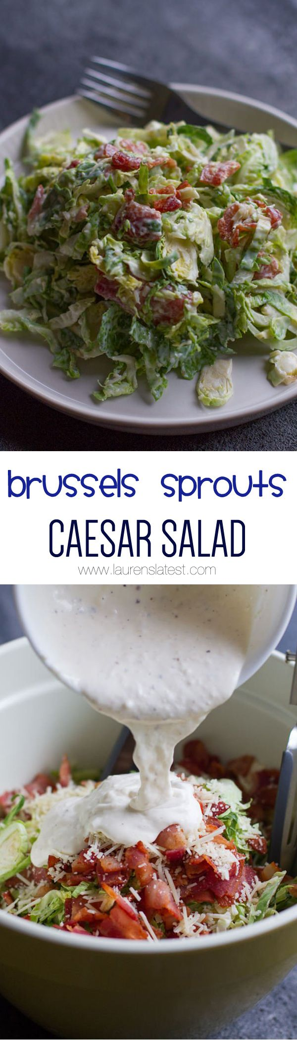 Brussels Sprouts Caesar Salad... It tastes just like caesar salad, just with a heartier texture!