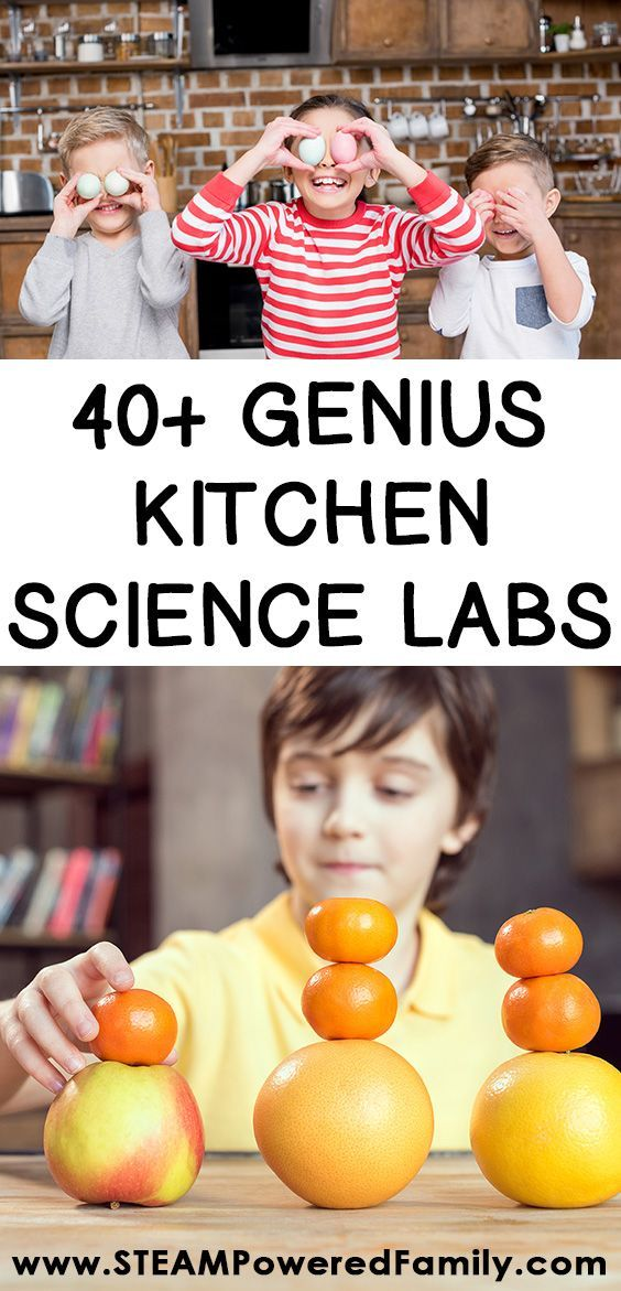 40+ Genius kitchen science lab projects for kids that will inspire kids, spark curiosity, promote healthy living, and build scientific knowledge. With projects from preschool through middle school, there is something here for everything to help cook up some amazing learning experiences.  #ScienceLab #ScienceLabForKids #KitchenScience  via @steampoweredfam