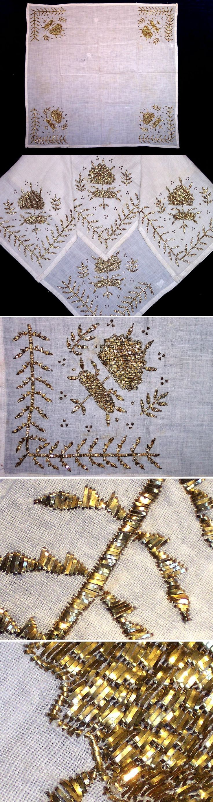 A 'çevre' (square kerchief; a decorative accessory, for the interior, but also used in costumes by both men and women). From the Bursa region, ca. 1925-1950. The 'tel kırma' embroidery is 'two-sided' (identical on both sides); motives are obtained by sticking narrow metallic strips (often silver) through the fabric and folding them. Design: leaves and twigs. (Inv.nr. brdw003 - Kavak Collection of Anatolian Textiles -Antwerpen/Belgium).