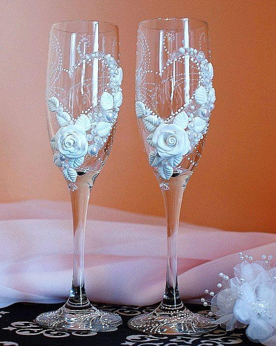 Champagne Glasses Wedding Toast Glasses Wedding by WeddingbyAnn