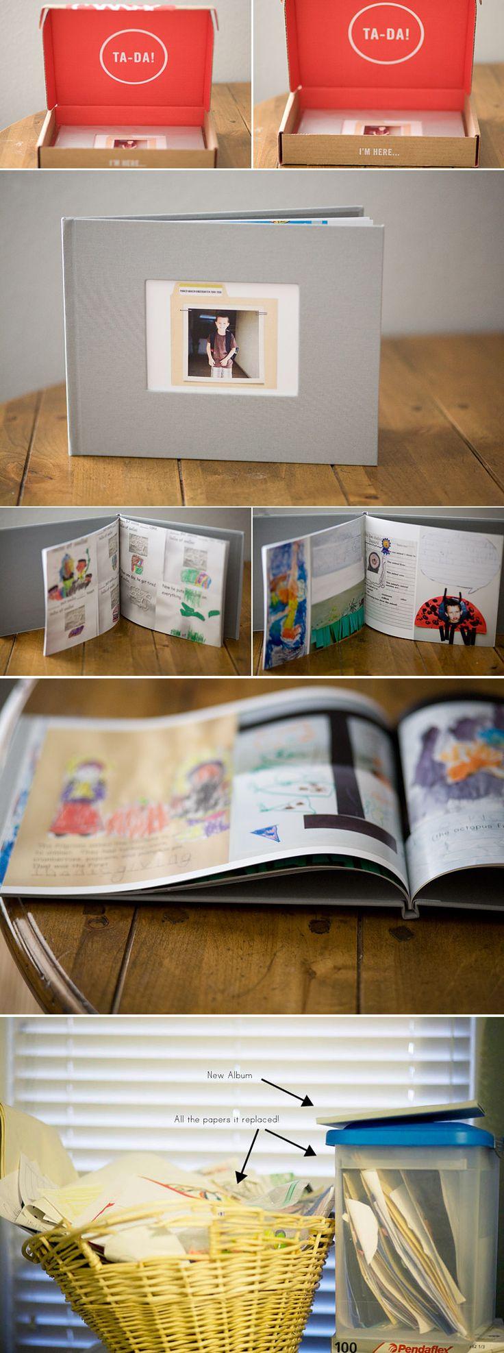 Scrapbook ideas school project - Photo Books For The Piles Of School Art Around Here Good Idea