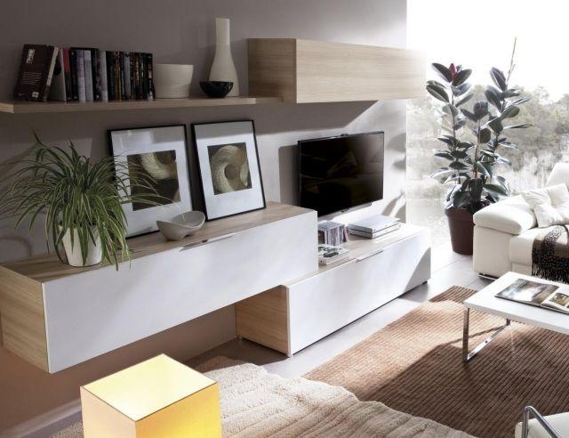 petit salon éclairé avec meuble TV en bois clair