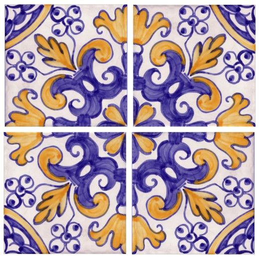 Sintra Antique Handpainted, Portuguese, Tiles - A1-Portuguese tiles - 23-Coimbra 4 tiles
