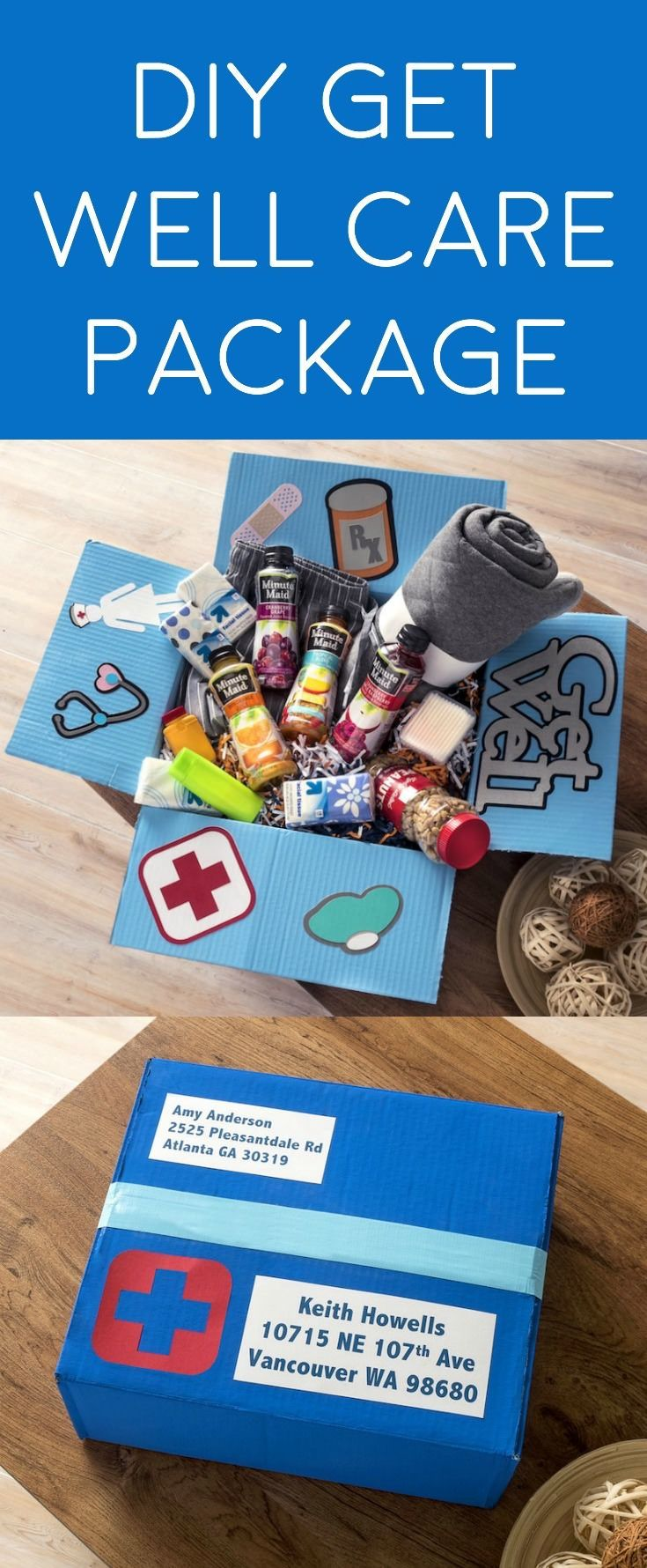 Learn how to make a fabulous get well care package for a friend or family member that is sick or had surgery. Fill it with items they love! via @modpodgerocks #doingood @minutemaid_us #ad