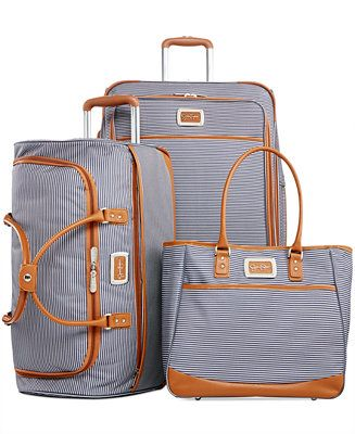 Jessica Simpson Breton Stripe Spinner Luggage - Luggage Collections - luggage - Macy's Bridal and Wedding Registry