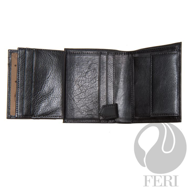 Kyle Wallet Black C$298  - Small black wallet - Made from high grade leather - double fold closure with snap - 3 Transparent windows for ID or photos - 5 Credit card slots - 1 Bill compartment - Change pocket with snap closure - 2 hidden compartments #leather goods