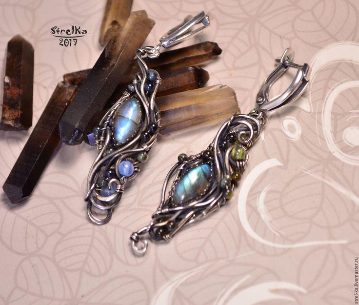 Купить Серьги Лесные Реки - синий, wire wrap, wrap, wire, strelka, подарок, нейзильбер