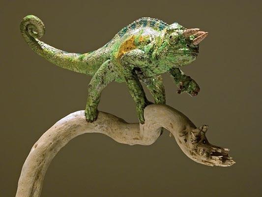 Clay Chameleon Sculptures