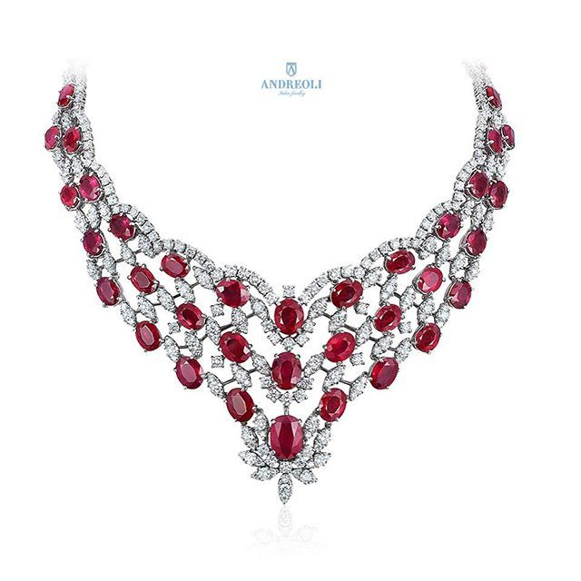18k gold diamondruby necklace 18k gold diamond and gold mozeypictures Gallery