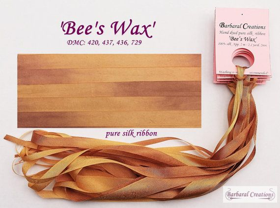 Hand dyed 4 mm wide pure silk ribbon  'Bee's by BarbaralCreations