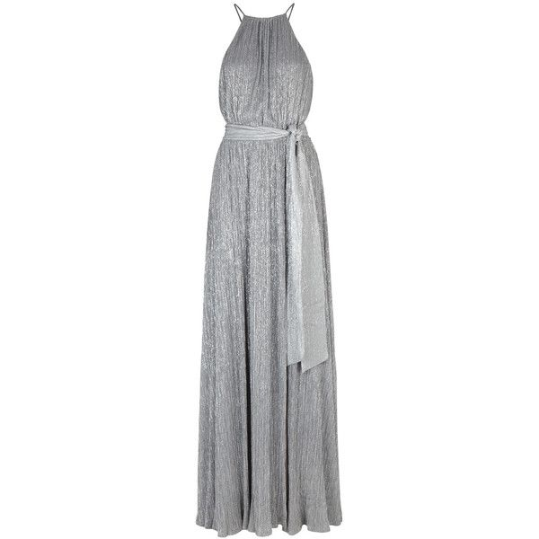Halston Heritage Silver Plissé Gown - Size 10 (12,280 MXN) ❤ liked on Polyvore featuring dresses, gowns, metallic gown, keyhole dress, silver evening gowns, silver metallic dress and halston heritage evening gowns