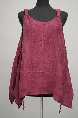 Transparente Designs Lagenlook Italian Linen Weave Tank Vestover Pink