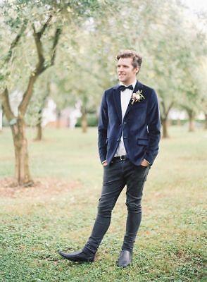 Mens Wedding Grooms Velvet Jacket Formal Dinner Slimfit Coat Blue