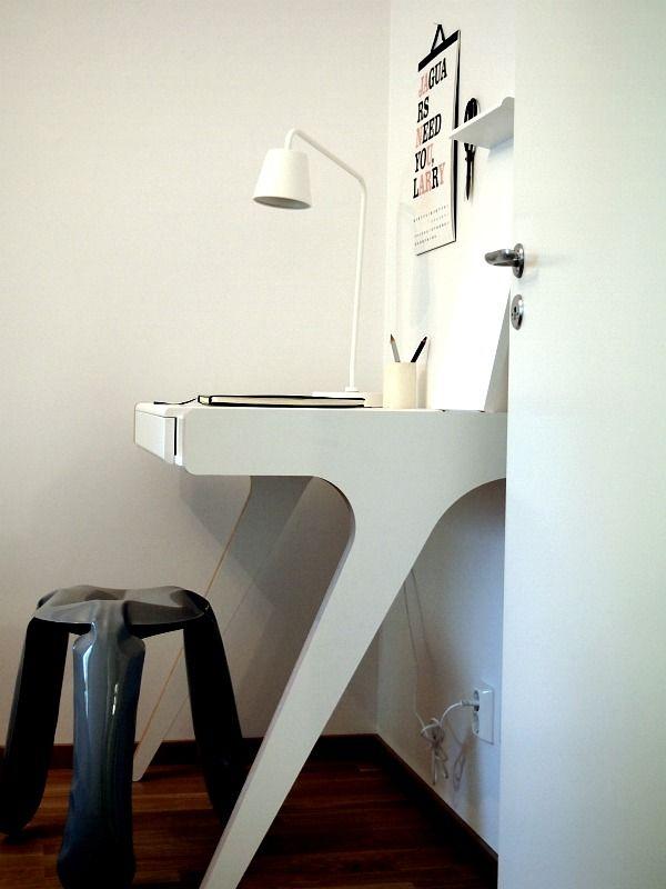 Nice desk from Bolia + HAY Plopp stool. Styling Marie Ramse