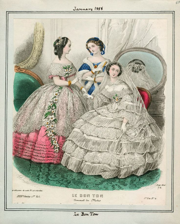In the Swan's Shadow: Le Bon Ton, January 1858  Civil War Era Fashion Plate  Wedding, bridal.