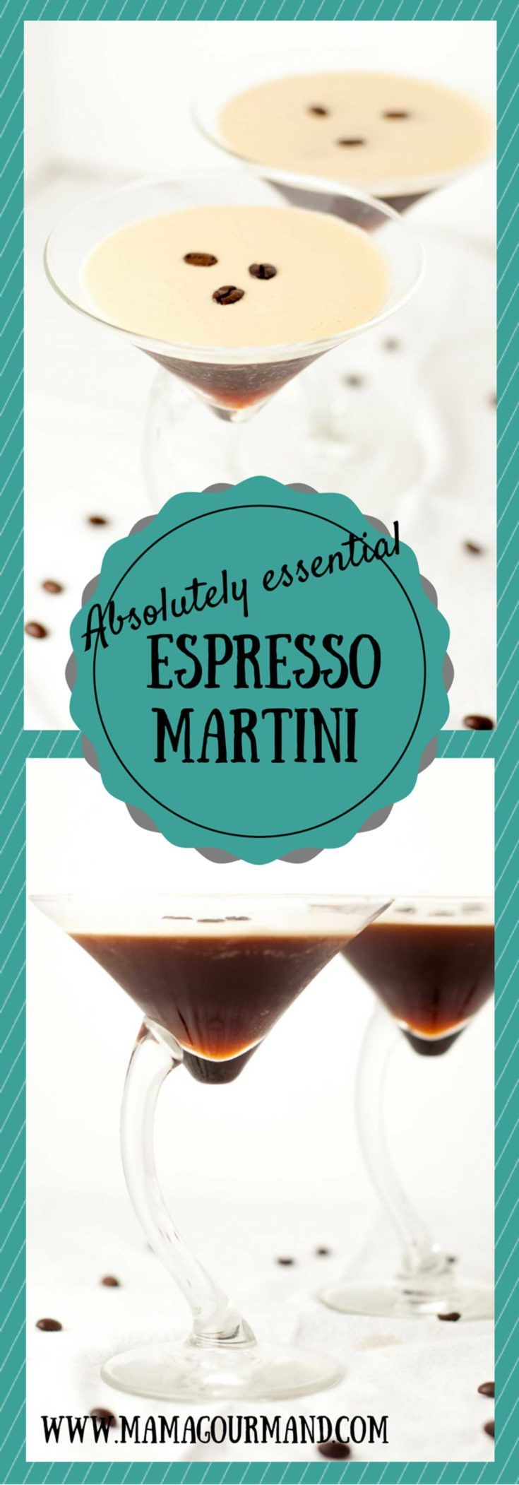 The Absolutely Essential Espresso Martini is the perfect cocktail for any coffee lover. It is the perfect balance of flavors, not overly sweet, and is always a huge hit! http://www.mamagourmand.com