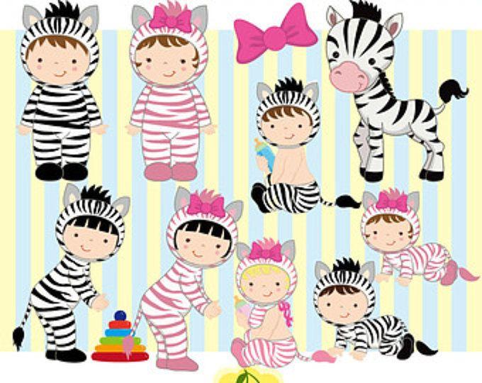 Cebra traje bebés Digital gráfico conjunto-cebra números de tarjeta que hace, scrapbooking, artes de papel de uso de imágenes prediseñadas-Personal y comercial, diseño web