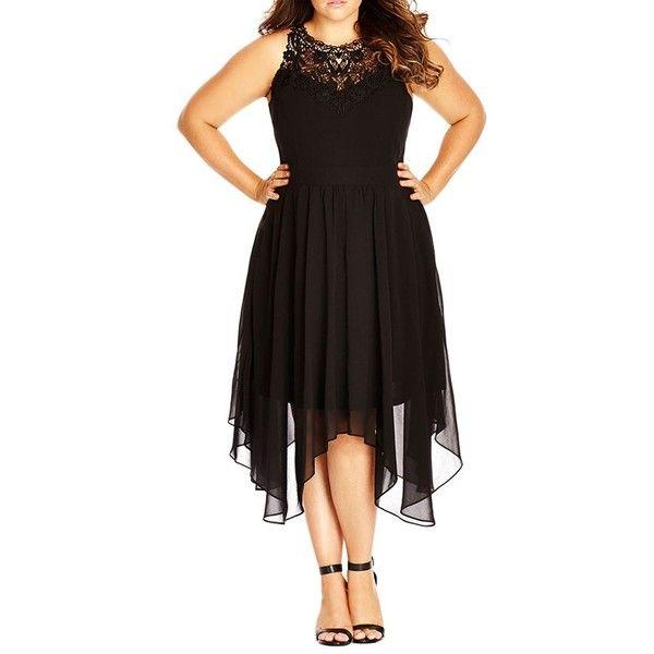 City Chic Layered Motif Midi Dress ($99) ❤ liked on Polyvore featuring dresses, black, plus size, black halter top, black chiffon dress, plus size black dress, black halter dress and sexy plus size dresses