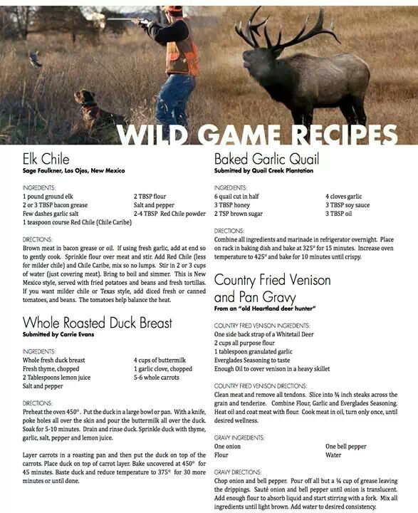 Wild game recipes...